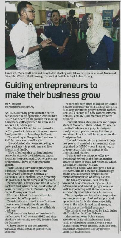 5 Ogos 2017 Guiding entrepreneurs to make their business grow The Star