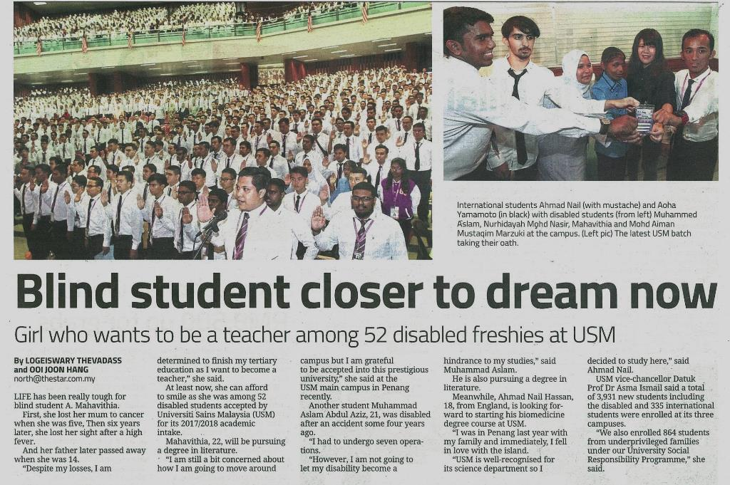 6 September 2017 Blind student closer to dream now The Star