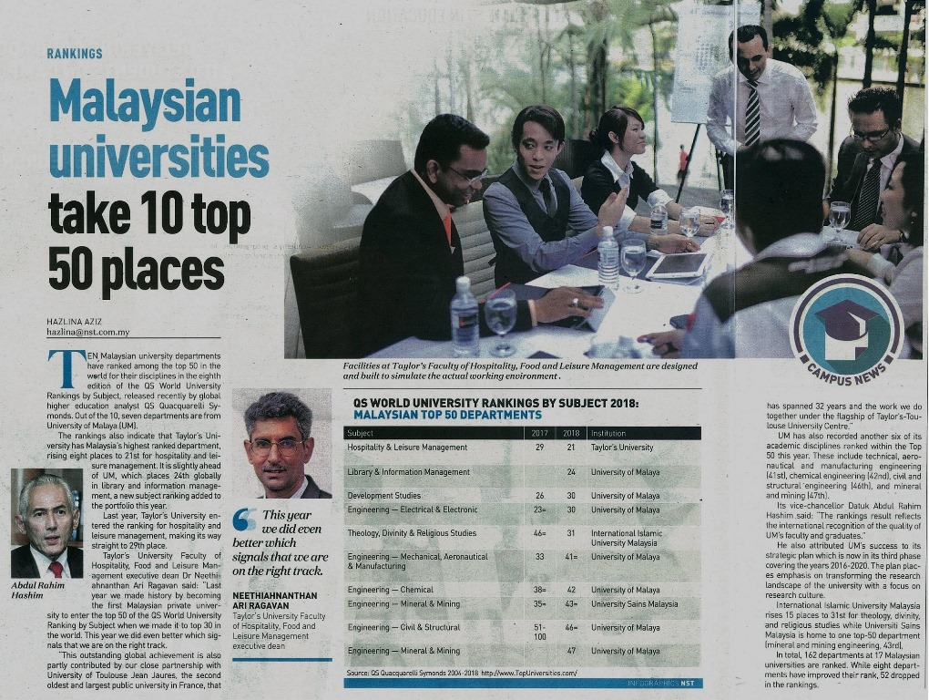 7 Mac 2018 Malaysian universities take 10 top 50 places NST