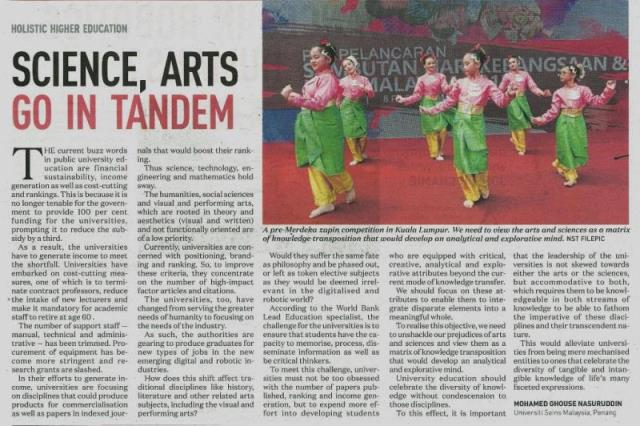 7 September 2017 Science Arts Go In Tandem NST